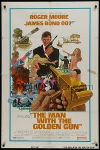 2f567 MAN WITH THE GOLDEN GUN West Hemi 1sh 1974 no-TA style, Moore as James Bond by Robert McGinnis