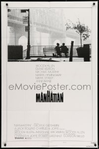 2f571 MANHATTAN style B 1sh 1979 Woody Allen & Diane Keaton, New York City title design by Burt Kleeger!
