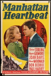 2f572 MANHATTAN HEARTBEAT 1sh 1940 Robert Sterling, pretty Virginia Gilmore in heart!