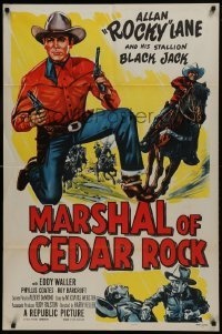 2f577 MARSHAL OF CEDAR ROCK 1sh 1953 cool art of cowboy Allan 'Rocky' Lane & Black Jack!