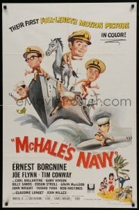 2f579 McHALE'S NAVY 1sh 1964 great artwork of Ernest Borgnine, Tim Conway & cast on ship!