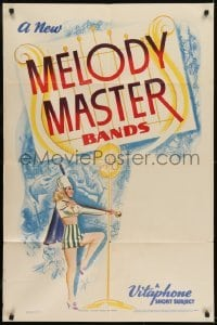 2f583 MELODY MASTER BANDS 1sh 1940 Vitaphone short, artwork of sexy baton twirler!