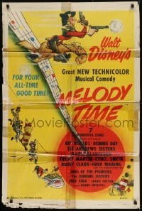 2f584 MELODY TIME style A 1sh 1948 Walt Disney, cool cartoon art of Donald Duck, Little Toot & more