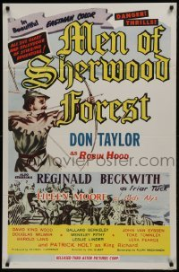2f585 MEN OF SHERWOOD FOREST 1sh 1956 art of Don Taylor as Robin Hood fighting many guards!