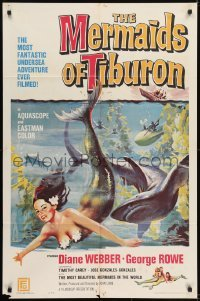2f587 MERMAIDS OF TIBURON 1sh 1962 art of sexy mermaid & shark, plunge into undersea adventure!