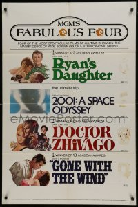 2f588 MGM'S FABULOUS FOUR 1sh 1971 Ryan's Daughter, 2001, Doctor Zhivago & Gone With the Wind!