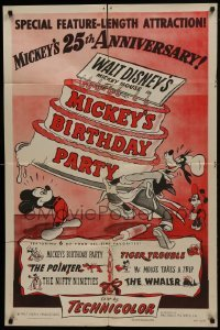 2f589 MICKEY'S BIRTHDAY PARTY style A 1sh 1953 Walt Disney, featuring 6 all-time cartoon favorites!