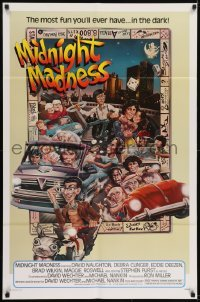 2f591 MIDNIGHT MADNESS 1sh 1980 cool art of entire cast in boardgame by David McMacken!