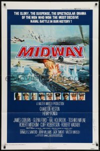 2f592 MIDWAY signed style B 1sh 1976 by Kevin Dobson, dramatic naval battle art, Heston, Fonda!