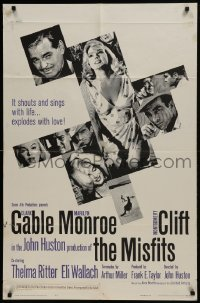 2f594 MISFITS 1sh 1961 sexy Marilyn Monroe, Clark Gable, Montgomery Clift, John Huston directed