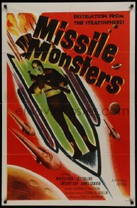 2f595 MISSILE MONSTERS 1sh 1958 aliens bring destruction from the stratosphere, wacky sci-fi art!
