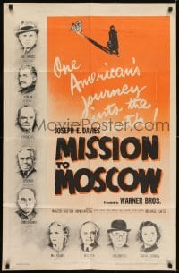 2f596 MISSION TO MOSCOW 1sh 1943 Walter Huston, one American's journey into the truth!