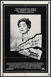 2f598 MOMMIE DEAREST 1sh 1981 great portrait of Faye Dunaway as legendary actress Joan Crawford!