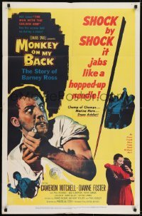 2f600 MONKEY ON MY BACK 1sh 1957 Cameron Mitchell chooses a woman over dope and kicks the habit!