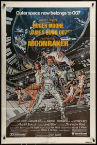 2f602 MOONRAKER 1sh 1979 art of Moore as James Bond & sexy Lois Chiles by Daniel Goozee!