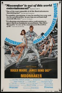 2f603 MOONRAKER reviews 1sh 1979 Roger Moore as James Bond & sexy space babes by Daniel Goozee!