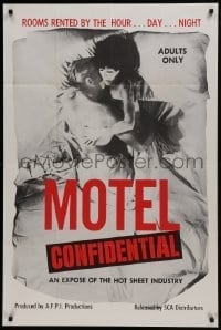 2f608 MOTEL CONFIDENTIAL 1sh 1967 the hot sheet industry, rooms by the hour, day, or night!