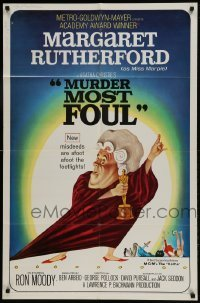 2f614 MURDER MOST FOUL 1sh 1964 art of Margaret Rutherford by Tom Jung, Agatha Christie!