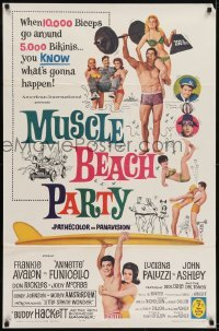 2f615 MUSCLE BEACH PARTY 1sh 1964 Frankie & Annette, 10,000 biceps & 5,000 bikinis!