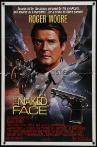2f621 NAKED FACE 1sh 1984 action art of Roger Moore, Elliott Gould & Rod Steiger!