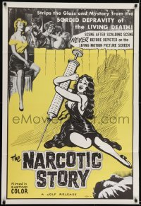 2f622 NARCOTIC STORY 1sh 1958 great drug needle image, sordid depravity of the living death!
