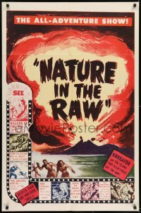 2f623 NATURE IN THE RAW 1sh 1960s cool art of volcano exploding, all adventure show!