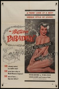 2f624 NATURE'S PARADISE 1sh 1960 nudist colony, great artwork of sexy topless woman, rare!