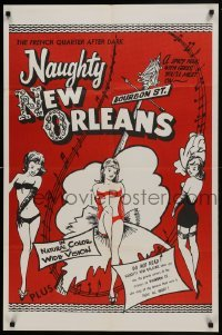 2f625 NAUGHTY NEW ORLEANS 25x38 1sh R1959 Bourbon St. showgirls in French Quarter after dark!