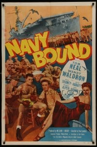 2f626 NAVY BOUND 1sh 1951 boxing Navy sailor Tom Neal, sexy Wendy Waldron!