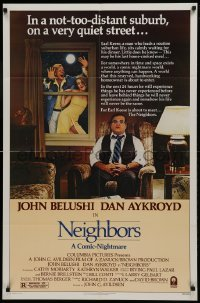 2f627 NEIGHBORS 1sh 1981 wacky image of John Belushi, Dan Aykroyd, Cathy Moriarty!