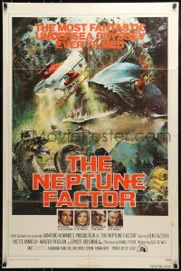 2f628 NEPTUNE FACTOR 1sh 1973 great sci-fi art of giant fish & sea monster by John Berkey!