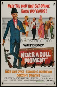 2f629 NEVER A DULL MOMENT 1sh R1977 Disney, art of Dick Van Dyke, Edward G. Robinson in lineup!