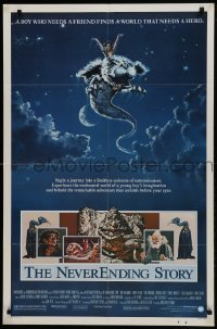2f633 NEVERENDING STORY 1sh 1984 Wolfgang Petersen, fantasy art of Falcor & cast by Richard Hescox!