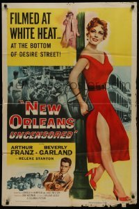 2f634 NEW ORLEANS UNCENSORED 1sh 1954 Castle, sexy full-length Helene Stanton in red dress!