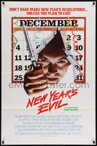 2f635 NEW YEAR'S EVIL 1sh 1980 killer busting through calendar, a celebration of the macabre!