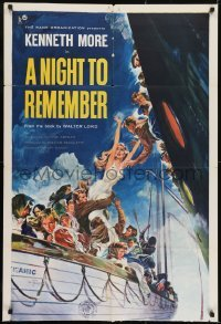 2f640 NIGHT TO REMEMBER 1sh 1959 English Titanic biography, John Floherty Jr. art of tragedy!