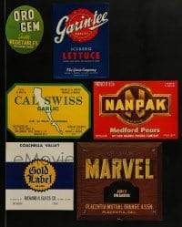 2g004 LOT OF 6 FRUIT AND VEGETABLE CRATE LABELS 1940s use them to decorate your kitchen!
