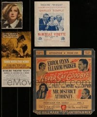 2g040 LOT OF 4 MISCELLANEOUS ENGLISH ITEMS 1930s-1960s Greta Garbo, Gone With The Wind & more!