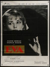 2p781 EVA style B French 1p 1962 directed by Joseph Losey, close up of Jeanne Moreau in shadows!