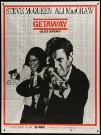 2p809 GETAWAY French 1p 1973 cool image of Steve McQueen & Ali McGraw with guns, Sam Peckinpah!