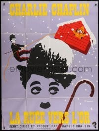 2p817 GOLD RUSH French 1p R1972 Charlie Chaplin classic, great Leo Kouper artwork!