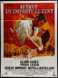 2p819 GONE WITH THE WIND French 1p R1990s Clark Gable, Vivien Leigh, Howard Terpning art!