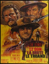 2p820 GOOD, THE BAD & THE UGLY French 1p R1970s Clint Eastwood, Van Cleef, Leone, Jean Mascii art!