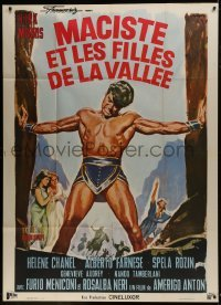 2p832 HERCULES OF THE DESERT French 1p 1966 Manno art of strongman Kirk Morris holding stone walls!
