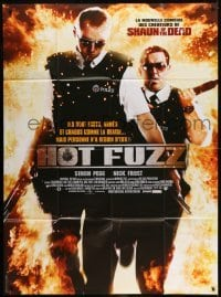 2p836 HOT FUZZ French 1p 2007 Simon Pegg & Nick Frost walking out of flames with guns!