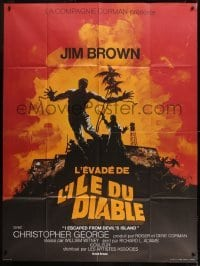 2p841 I ESCAPED FROM DEVIL'S ISLAND French 1p 1975 different art of Jim Brown jumping from cliff!