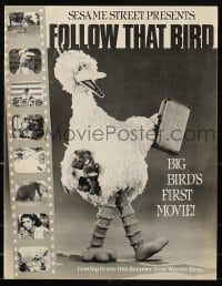 2p169 FOLLOW THAT BIRD promo brochure 1985 Sesame Street presents Big Bird in his first movie!