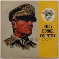 2p197 DOUGLAS MACARTHUR 33 1/3 RPM record 1963 Duty Honor Country, great Adolph Treidler art!
