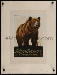 2p111 LUDWIG HOHLWEIN linen 8x12 German book page 1926 Baren-Brauerei, c/u art of brown bear!