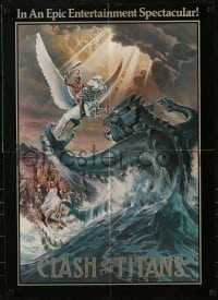 2p165 CLASH OF THE TITANS promo brochure 1981 opens to make a cool 21x30 Daniel Goozee art poster!